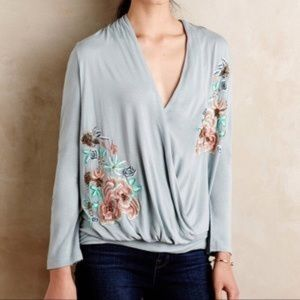 ANTHROPOLOGIE AKEMI & KIN EMBROIDERED WRAP TOP M